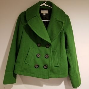 Cropped green pea coat